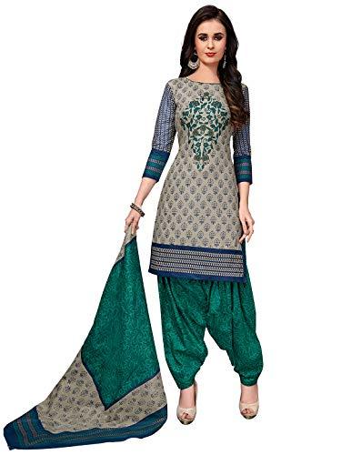 Jevi Prints Women's Cotton Printed Straight Stitched Salwar Suit Set (SUIT_KSP-6104_Grey & Green)