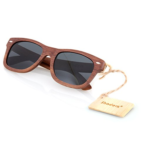 Walnut Wood Wooden Sunglasses by Shaderz - Vintage Retro Classic 100% Natural Eco Friendly Handcrafted Lightweight Frames - Pouch Included - - Wayfarer Adjusting Sunglasses