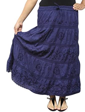 Bombay Fashions Full Length Womens Ethnic Peasant Bohemian Gypsy Skirt