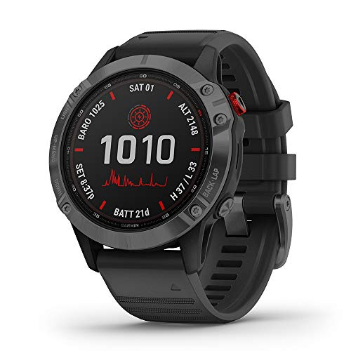Garmin Fenix 6 Pro Solar (Slate Gray with Black Band) Runner's Bundle | +Garmin Water Bottle, HD Screen Protectors & PlayBetter Charger | Solar Charging, PacePro & Music