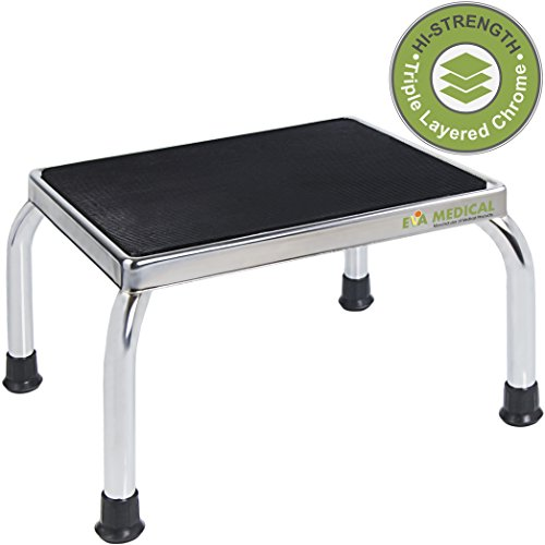 Eva Medical Chrome Frame Foot Step Stool with Anti-Slip Rubber Platform for the Bedroom, Kitchen and Bathroom (Medical Grade and Fully Assembled, no tools required)