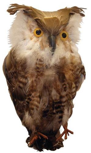 Factory Direct Craft Artificial Brown Feathered Owl - So, Lifelike You'll Expect Him to Whoooo!