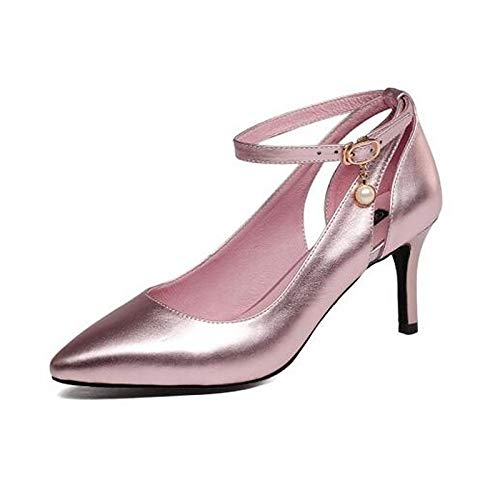 Plata Cuero Negro De Talón Mujer QOIQNLSN Primavera Rosa Básica Zapatos Nappa Tacones Stiletto Bomba Black Cqt5E57P