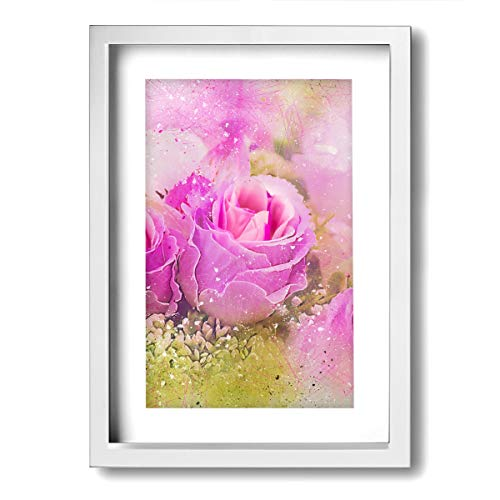 "9""x 13"" Picture Floral Still Life Of Pink Rose Flower Wall Decor For Living Room Bedroom Canvas Wall Art Framed Canvas Artworks Prints Giclee Ready To Hang For Home Decoration"
