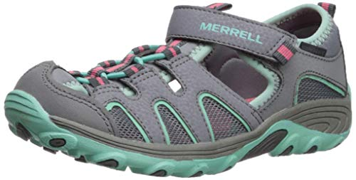 (Merrell Girls' Hydro H2O Hiker Sandal, Grey/Turquoise 070 Wide US Big Kid)