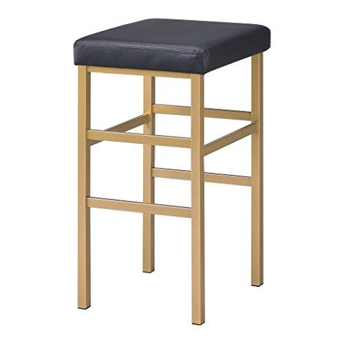 Style Modern Bar Kitchen Stool - Office Star Backless Stool with Gold Frame, 30-Inch, Black
