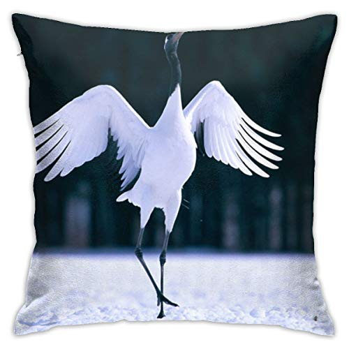 Square Decorative Throw Pillow Cases Cushion Covers - Red Crowned Crane 18 X 18 Inch for Home, Couch, Sofa, Or Bed, Modern -
