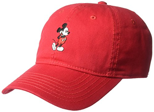 (Disney Men's Mickey Washed Twill Baseball Cap, Adjustable, Red Full, One Size)