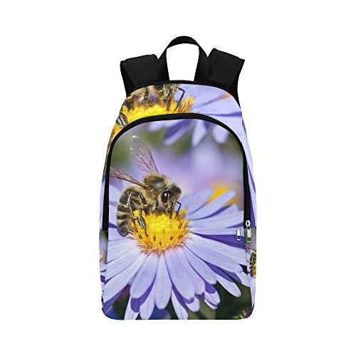 (Honey Bee Pollinate Yellow Flower Casual Daypack Travel Bag College School Backpack for Mens and Women)
