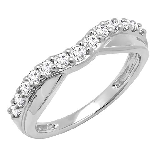 0.55 Carat (ctw) 10K Round Diamond Ladies Wedding Guard Contour Band 1/2 CT, White Gold, Size 7 ()