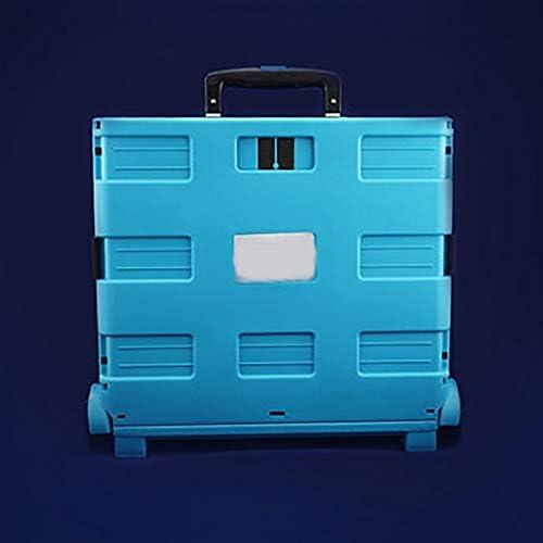 工具入れカート ツールトロリー折り畳み式トロリーカーブリキ自動車修理工場トロリーツールキャビネットワークショップ 工具カート キャビネット (色 : 青, Size : 37x41x32cm)