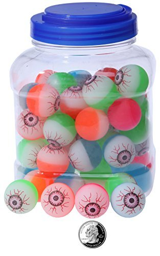 Juvale Bouncy Balls Party Favors - 60-Count Super Bouncy Balls Bulk, Eyeball Bouncy Balls Halloween Party Supplies, Assorted Colored Eye High Bouncing Balls Party Bag Filler, 1.25 Inches in Diameter -