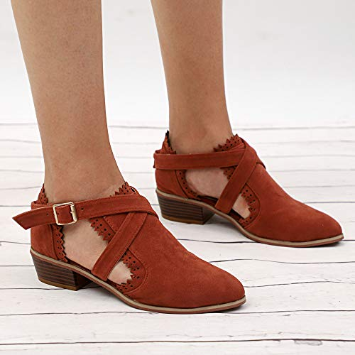 Chaussures Couleur Bottines Talons Shoes Alikeey Single Toe Munich Boucle Femmes Time Pure Brown Carrs Strap Ponited Ynqn8IRT