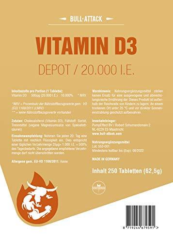 VITAMINE D3 20000 U.I. DEPOT – 250 comprimés végétaliens I Emballage de conservation XXL I Vitamine D-3 Sunshine – 1000…