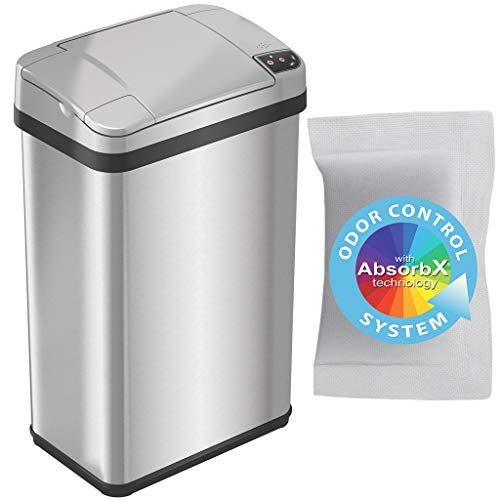 iTouchless Lemon Fragrance 4 Gallon Sensor Trash Can with AbsorbX Odor Filter and Air Freshener, 4 Gal, Stainless Steel, 04 Gallon