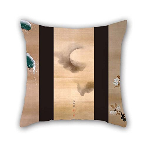 TonyLegner Pillow Cases of Oil Painting Sakai Hoitsu - Snow, Moon and Flowers 20 X 20 Inches / 50 by 50 cm Best Fit for Bedroom Home Theater Club Kids Room Seat Club Both Sides -