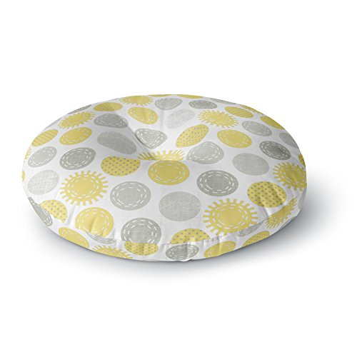 Sunspot Bedding (KESS InHouse Heidi Jennings Sunspot Yellow Spots Round Floor Pillow, 26