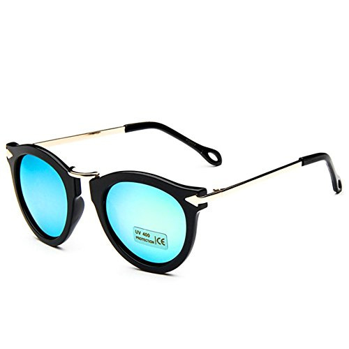 MosierBizne Cat Eye Mirrored Flat Lenses Street Fashion Metal Frame Women Sunglasses(C4) - Smiley Costumes Contact Lenses