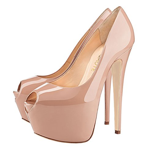 MERUMOTE Women's High Heels Platform Shoes Peep Toe Pumps Glegant Dress Wedding Patent Nude siKAJ7I