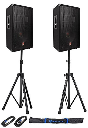 2) Rockville RSG12.4 12 3-Way 1000w 4-Ohm Passive DJ Speaker