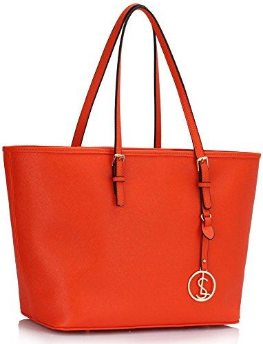 ANNA GRACE - Bolso de tela de piel sintética para mujer Design 1 - Orange