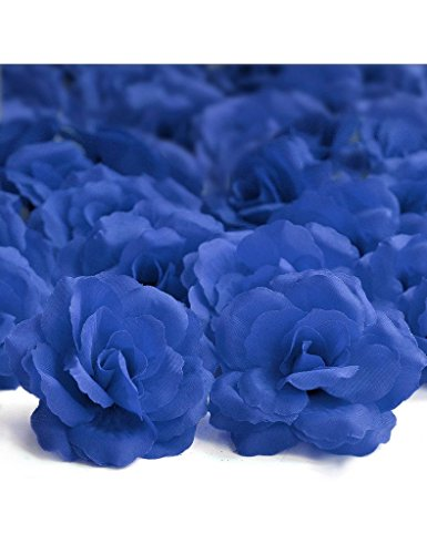 Freshheart 20pcs Artificial Big Rose Flower Heads Dark Blue Wedding DIY HS8-23 - Dark Blue Rose