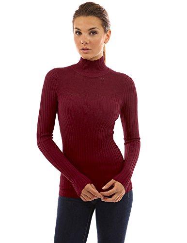 (PattyBoutik Women's Turtleneck Eyelet Inset Sweetheart Sweater (Burgundy L))