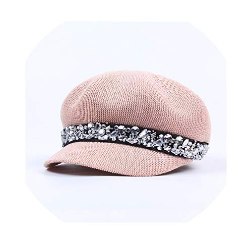 (Hat Tide Wild Rhinestone Octagonal Cap British Retro Beret Cap Hat Tide,Light Pink,Adjustable)