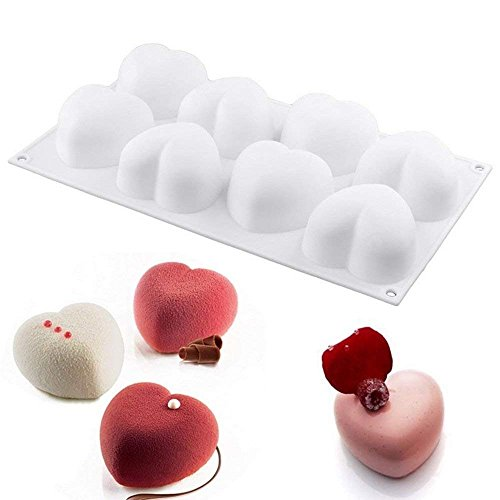 (Wewin 8 Holes Love Heart Shaped Mousse Silicone Mold Cake Pan Baking Tool Mousse Chocolate Dessert Jelly Muffin Mould Pastry Decoration)