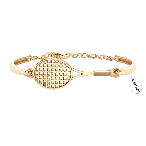MANZHEN 3 Colors Aolly Racket Adjustable Simple Bangle Bracelet with Lobster Clasp(Gold)