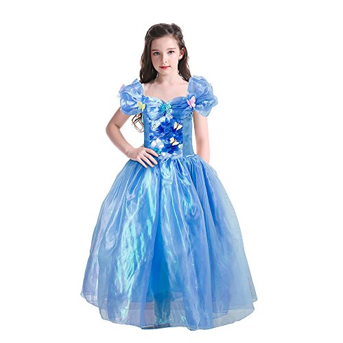 Gotu Palace Princess Costume Cinderella Dress Party Lace Butterfly Dress Adventure Outfit (5-6 years old, Blue) - Cinderella Fancy Dress For Adults