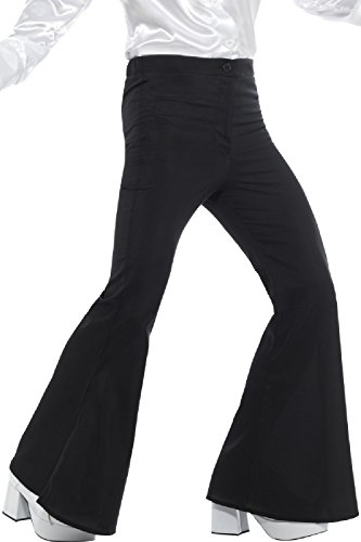 Mens Black 1960s 1970s Hippie Hippy Woodstock Peace Love Kick Flares Pants Fancy Dress Costume Outfit Trousers (Black, X-Large)