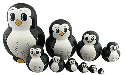 Penguin Nesting Dolls - Unigift 10pcs Cutie Lovely Mini Animal Nesting Dolls Matryoshka Russian Doll Popular Handmade Kids Girl Gifts Stacking Toy (Penguin)