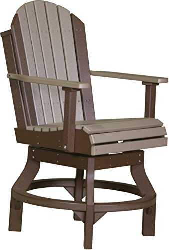 LuxCraft Recycled Plastic Adirondack Poly Swivel Chair with Foot Rest - Outdoor Counter Height Chair, 47