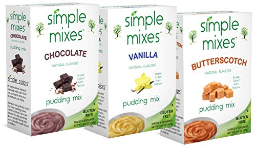 Simple Mixes Chocolate, Vanilla and Butterscotch Variety Pudding (Pack of 6) ()