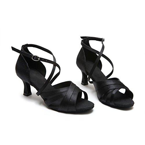 Bcln Sandales À Bout Ouvert Pour Femme Latine Salsa Tango Talons Pratique Chaussures De Danse De Salon Avec 2.2 Talon Noir