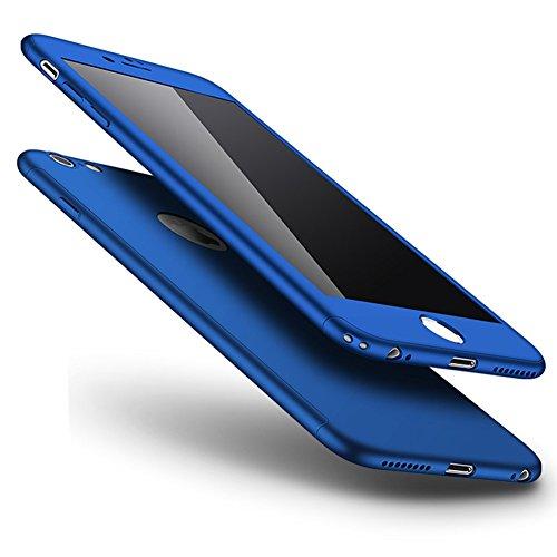 Custodia Cover 360 gradi Protezione per iPhone 6/6S plus Silicone Morbida,Ukayfe [2 in 1] Completa Full Body Cover in Vetro Temperato Screen Protector Film Ultra Resistente per iPhone 6/6S plus Flexib Blu di Seta