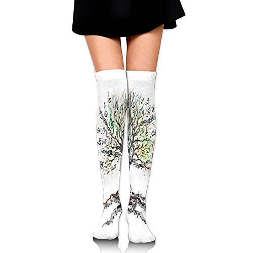 Hizhogqul Musical Tree Autumn Clef Trunk Swirl Nature Illustration Leaves Creative Design Decorative Women's Fashion Over The Knee High Socks (60cm)