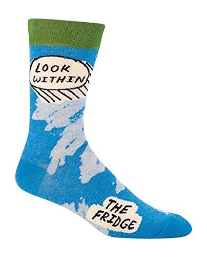 Vulgar Q Men's Novelty Crew Socks - Look Within Fridge (Mens Size 7-12) with Sock Ring