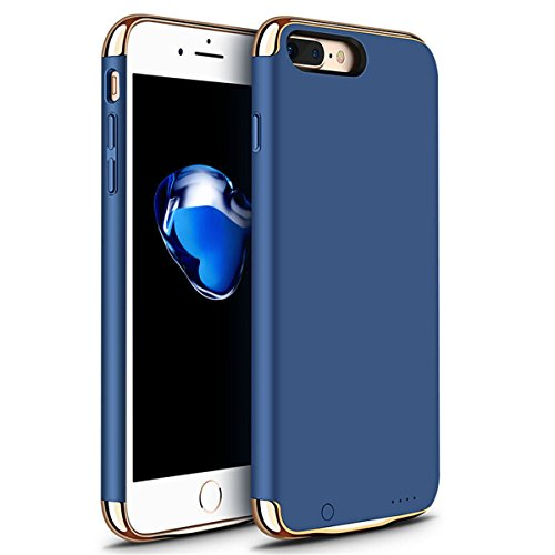 iPhone 6/6s/7 Plus Battery Case, GIZEE Ultra Slim 3 In 1 Metal Textured 4000 mAh Portable Protective Charging Case for Apple iPhone 6 Plus/ iPhone 6S Plus/ iPhone 7 Plus 5.5 Inch - Blue