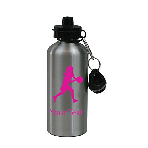 Personalized Custom Female Basketball Dribbling Aluminum Silver Finish 20 Ounce Water Bottle Customizable, Hot Pink ()