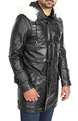 A1 FASHION GOODS Mens Duffle Leather Coat Black ¾ Long Removable Hood Zip Up Designer Jacket - Ian