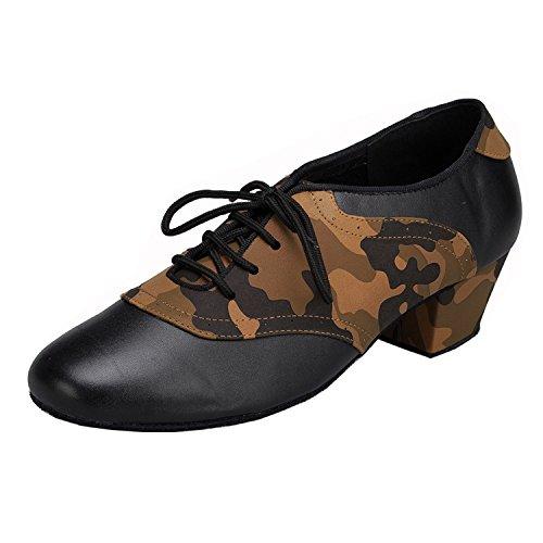 Minision Herren Moderne Leder Stoffe Latin Dance Schuhe Braun