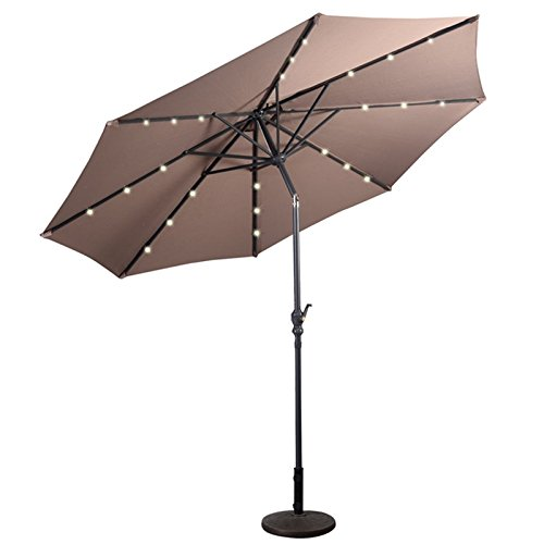 New Tan 10FT Patio Solar Umbrella LED Patio Market Steel Tilt W/ Crank Outdoor New - Light Reflect Sunglasses How
