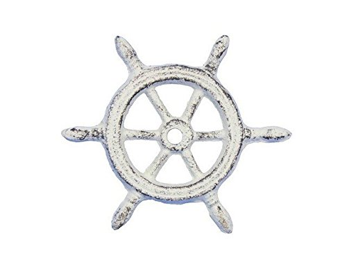 Wheel Paperweight - Handcrafted Decor K-1293-W Whitewashed Cast Iron Ship Wheel Decorative Paperweight, 4 in.