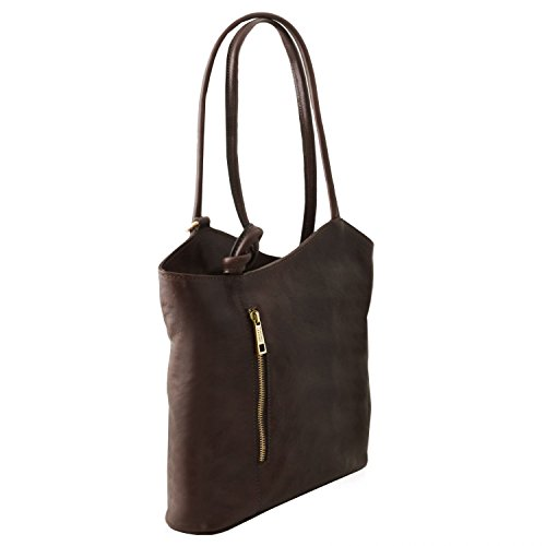Mochila Amarillo en en señora de Piel Patty Bolso Oscuro Convertible Leather Tuscany Marrón qpx8zwv8