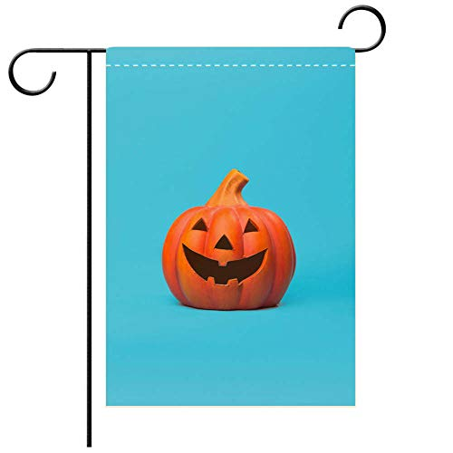BEICICI Double Sided Premium Garden Flag Orange Halloween Pumpkin on a Blue Background in Studio Best for Party Yard and Home Outdoor Decor]()