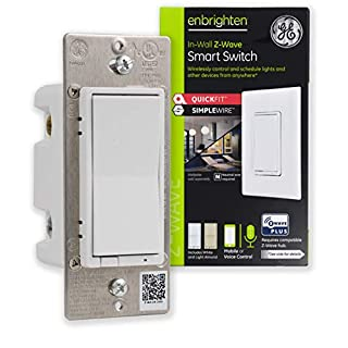 GE Enbrighten Z-Wave Plus Smart Light Switch with QuickFit and SimpleWire, 3-Way Ready, Works with Alexa, Google Assistant, ZWave Hub Required, Repeater/Range Extender, White & Light Almond, 46201