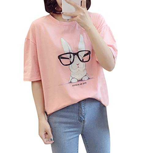 LUCA Easter Days Women's Funny Bunny Print Round Neck Short Sleeve Tops Casual Tee Shirt Pink]()
