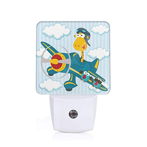 (Colorful Plug in Night,Goofy Giraffe On A Blue Plane with Two Birds Animal Aviation Goggles,Auto Sensor LED Dusk to Dawn Night Light Plug in Indoor for Childs Adults)